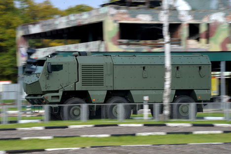 "KAMAZ truck ""Typhoon"" being displayed during the KAMAZ motor output show at the testing grounds on the premises of the interior troops' operations brigade, Moscow Region. Source: RIA Novosti"