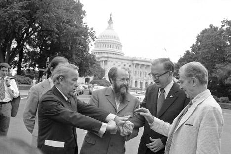 Alexander Solzhenitsyn (center) spent 20 years in the U.S. Source: AP