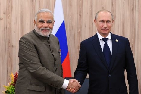 Vladimir Putin and Narendra Modi meet during the BRICS summit in Fortaleza. Source: Michael Klimentyev / RIA Novosti