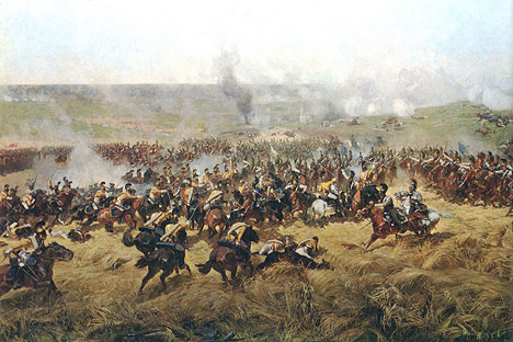 "A fragment of ""Battle of Borodino"", panoramic painting by Franz Roubaud. This battle was famously described by Leo Tolstoy in ""War and Peace"". Source: Open sources"