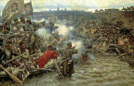 Vasiliy Surikov. Conquest of Siberia by Yermak (1895, fragment). Source: wikipedia