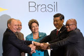 BRICS countries launch $100 billion developmental bank and currency pool