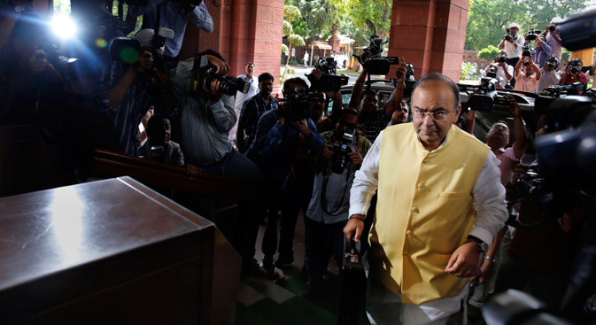 Arun Jaitley had few surprises in his first budget. Source: AP