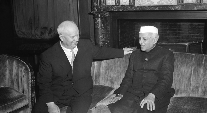 Nikita Khrushchev and Jawaharlal Nehru. Source: AP