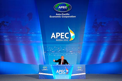 Vladimir Putin at the 2012 APEC summit in Vladivostok. Source: Photoshot / Vostock Photo