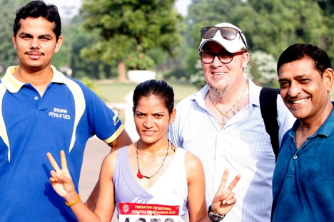 Alexander Artsybashev with Federation Cup Gold medalist Rani Yadav with and other officials. Courtesy: Athletics Federation of India