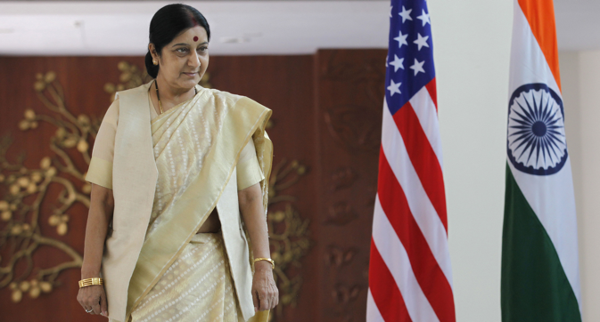 Sushma Swaraj before her meeting with US Secretary of State John Kerry on July 31, 2014 in New Delhi. Source: Getty Images/Fotobank