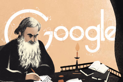 On September 9, Google featured an interactive screensaver dedicated to Tolstoy's 186th birthday. Source: Google