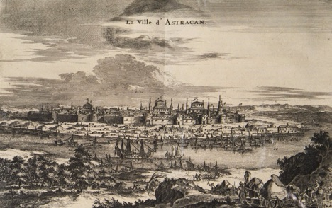 A drawing of Astrakhan in 1682 from the book, The Travels of Jean Struys in Moscow, Tatarstan and Persia