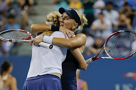 The Russian tennis player talks about her doubles win at Flushing Meadows. Source: AP