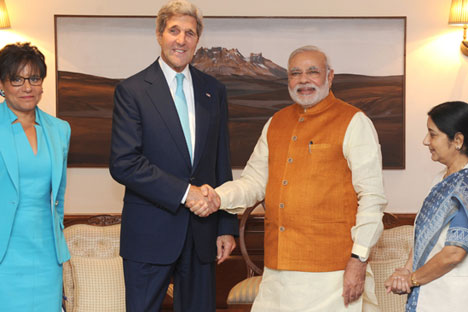 U.S. Secretary of State John Kerry with Indian Prime Minister Narendra Modi in New Delhi. Source: Photoshot/Vostock Photo