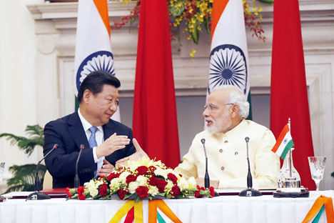 Xi Jinping and Narendra Modi during their talks in New Delhi, September 18, 2014. Source: Photoshot/Vostock Photo