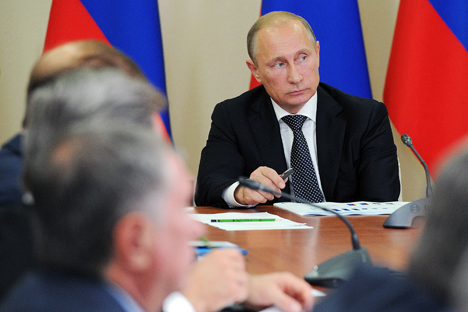 Vladimir Putin speaks at a meeting of the Russian State Council on the development of the Russian business under the conditions of Russia's membership in the WTO and anti-Russian sanctions in Moscow, Sept. 18. Source: ITAR-TASS