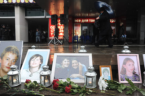 Photos of the victims of the 2002 Nord-Ost hostage crisis at the Dubrovka Theater in Moscow. Source: Photoshot / Vostok Photo