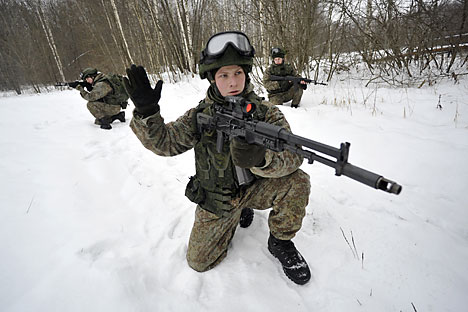 The original Ratnik combat gear is currently being tested, and by December 2014 it should be used by the Russian Armed Forces. Source: Photoshot/Vostock-Photo
