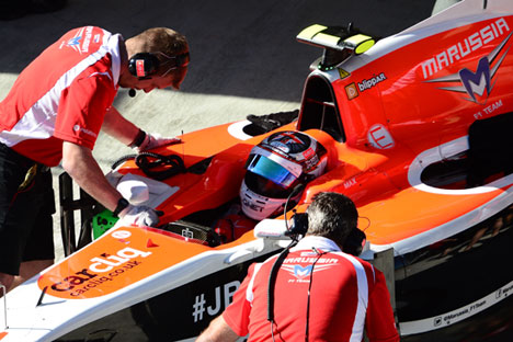 Marussia driver Max Chilton during a pit stop in the free practice at the 2014 Formula 1 Russian Grand Prix. Source: Mikhail Korytov / RIA Novosti