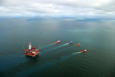 Prirazlomnaya offshore ice-resistant stationary platform set in Pechora Sea. Source: TASS