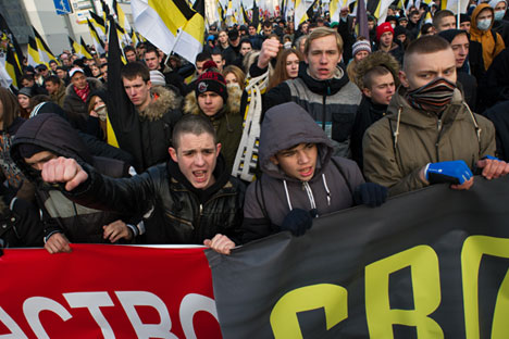 Demonstrators at the Russian March. Source: Ramil Sitdikov / RIA Novosti