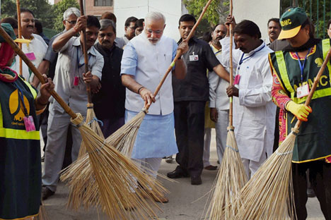 Narendra Modi launching a 'Clean India' campaign. Source: AP
