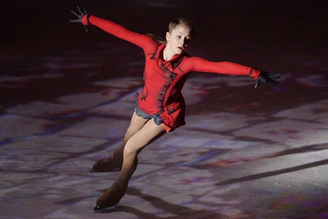 """Olympic champion Yulia Lipnitskaya performs during the """"We Are The Champions"""" figure skating gala held at the Small Sports Arena of the Luzhniki Olympic Sports Complex in Moscow. Source: Maxim Blinov / RIA Novosti"""