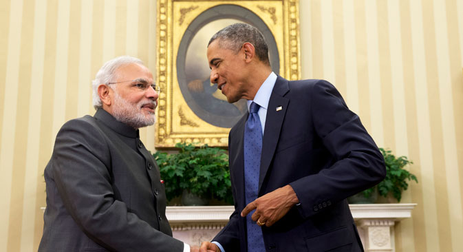 Barack Obama shakes hands with Narendra Modi on Sept. 30, 2014, in the Oval Office  of the White House in Washington. Source: AP