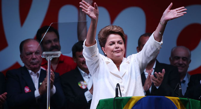 Dilma Rousseff celebrates her re-election. Source: Getty Images/Fotobank