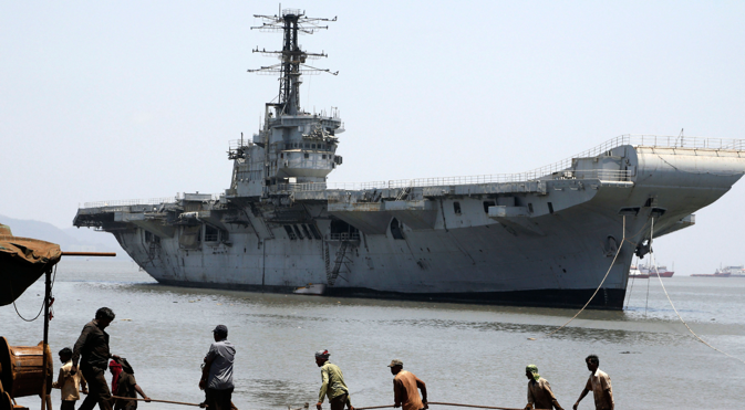 The INS Vikrant is the first aircraft carrier built in India. Source: AP