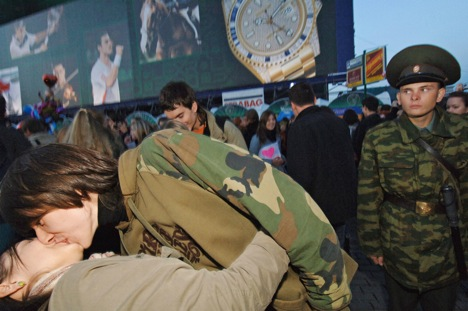 Public displays of affection are becoming rarer in Russia. Source: Vladimir Vyatkin / RIA Novosti