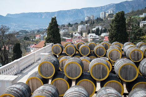Rows of oak barrels for fermenting Madeira wine at the Massandra wine-making factory in Crimea. Source: Mikhail Mokrushin / RIA Novosti