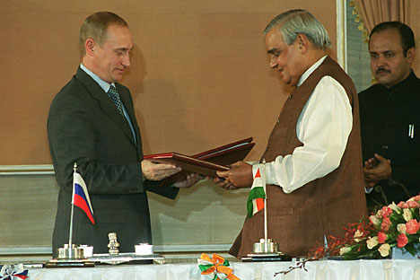 Vladimir Putin with Atal Bihari Vajpayee in 2000. Source. AP