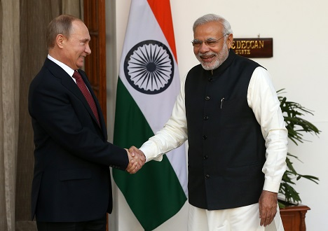 Vladimir Putin and Narendra Modi met in New Delhi on December 11, 2014. Source: Konstantin Zavarzhin / RG
