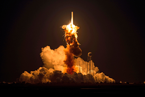 The Orbital Sciences Corporation Antares rocket, with the Cygnus spacecraft onboard suffers a catastrophic anomaly moments after launch from the Mid-Atlantic Regional Spaceport Pad 0A, Tuesday, Oct. 28, 2014, at NASA's Wallops Flight Facility in Virginia. Source: AP