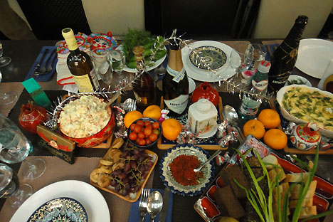 New Year table, Soviet diet style. Source: Anna Kharzeeva