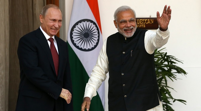 Vladimir Putin and Narendra Modi meet in New Delhi. Source: Konstantin Zavrazhin / RG