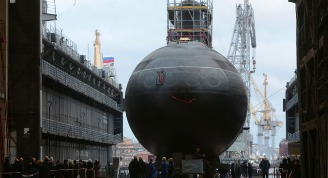 The first multirole Yasen K-560 Severodvinsk submarine by the pier of the Sevmash shipyard in Severodvinsk. Source: RIA Novosti