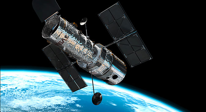 The Hubble telescope in space. Source: Press Photo