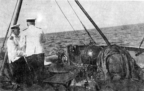 Russia's Navy prepares for practical training in laying of mines in 1912. Source: Open source