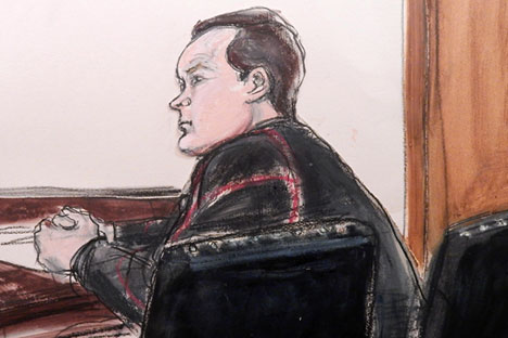 Yevgeny Buryakov appears in federal court in Manhattan on Jan 26 after his arrest earlier in the day in connection with a Cold War-style Russian spy ring that spoke in code, passed messages concealed in bags and magazines, and tried to recruit people with ties to an unnamed New York City university, according to authorities. Source: AP