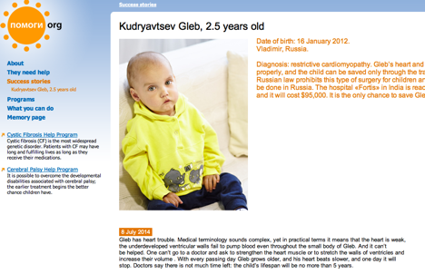 Gleb Kudryavtsev. Screenshot of the Pomogi.org website