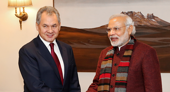 Russian Defence Minister Sergei Shoigu held talks with Indian Prime Minister Narendra Modi in New Delhi. Source: Vadim Savicky / TASS