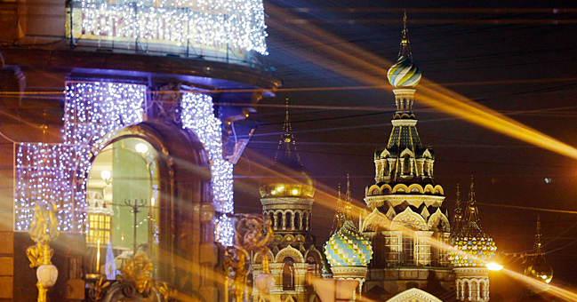A night view of the Church of the Savior on Spilled Blood. Source: TASS/Ruslan Shamukov