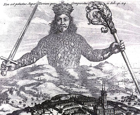 The frontispiece of the book Leviathan by Thomas Hobbes