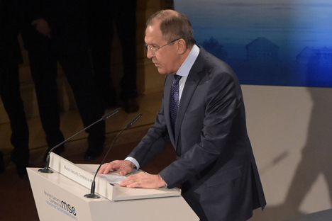 Russian Foreign Minister Sergei Lavrov delivers his speech in Munich. Source: Eduard Pessov / MFA Russia