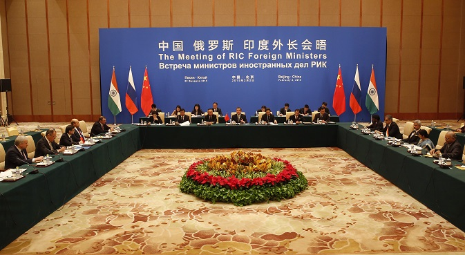 The meeting of the Foreign Ministers of China, Russia and India at Diaoyutai State guesthouse in Beijing. Source: AP