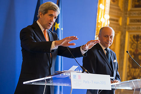 U.S. Secretary of State John Kerry (left) speaks during a news conference with France's Foreign Minister Laurent Fabius in Paris March 7, 2015. Source: Reuters