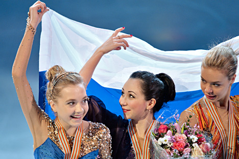 Medalists of the women's singles figure skating competition at the European Figure Skating Championships in Stockholm, during the awards ceremony: Russia's Elena Radionova - 2nd place; Russia's Yelizaveta Tuktamysheva - 1st place; Russia's Anna Pogorilaya - 3rd place. Source: Vladimir Pesnya / RIA Novosti