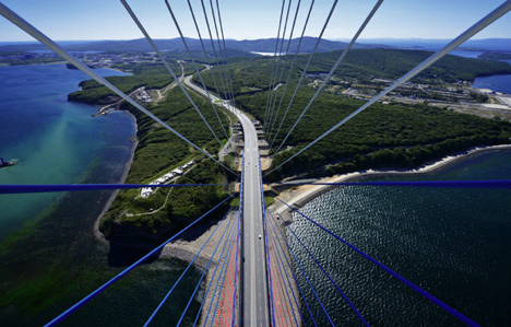View of the cable-stayed bridge to the Russky island in Vladivostok. Source: TASS/Yury Smityuk