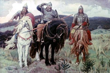 """""""Tri Bogatyrya"""" (Tiga Pahlawan) karya Viktor Vasnetsov (1898), Galeri Nasional Tretyakov, Moskow."""