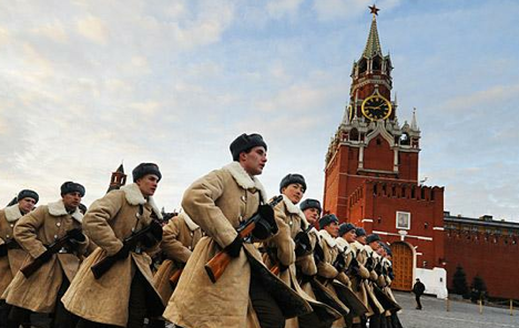 Participants dressed as Red Army soldiers march through Red Square during a military parade. Source: TASS / Stanislav Krasilnikov