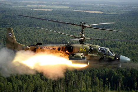 The Vikhr guided anti-tank missile is launched from a Ka-52 helicopter. Source: Rostech